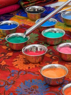 sand used by tibetan monks to create mandalas, I believe. They create these stunning & ornately detailed 'sand paintings' that are only temporary, as do the Navajos. The sand is then brushed away.