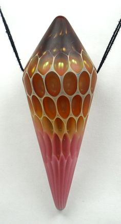American Trade Bead - Arizona - Bi-cone bead. Hollow blown boro glass lampwork.