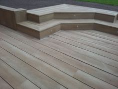 Millboard enhanced grain composite decking in golden oak with led lights supplied and fitted by the Original Decking in Staffordshire Wpc Decking, Composite Decking, Deck Design, Garden Design, Deck Pictures, Garden Paving, Golden Oak, Outdoor Living, Outdoor Decor