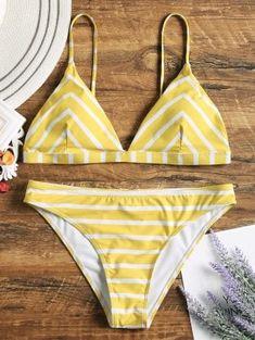 Chevron Striped Cami Bikini Set - White And Yellow - White And Yellow S