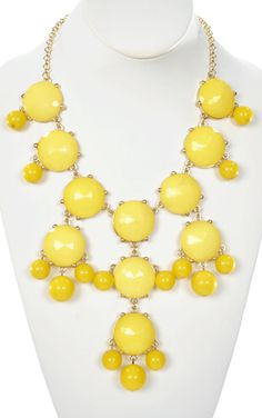 Bauble Burst Necklace in Yellow - Jewelry  (This websites had a great collection of really cute but inexpensive stuff) Pinner says.