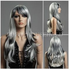 Gray long hair wigs for women wigs with bangs natural weaves wigs Grey Hair Wig, Long Gray Hair, Wavy Hair, Brown Hair, Wigs With Bangs, Hairstyles With Bangs, Wig Styles, Curly Hair Styles, Long Hair Wigs