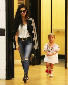 "daiilycelebs: "" 9/18/15 - Kourtney Kardashian at an office building with her daughter Penelope in Beverly Hills. """