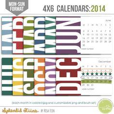 2014 calendars 4x6 Monday start