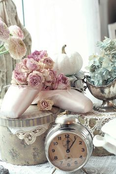 I love the ballet slippers, the flowers the colors and the clock..