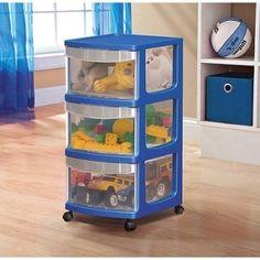 Storage Rolling Medium Cart Organizer 3-Drawer Plastic Cabinet Home Toy Box #Mainstays