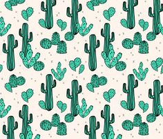 Cactus & Prickly Pears - Light Jade/Champagne by Andrea Lauren