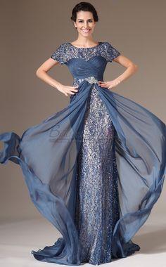 Ink Blue Long Chiffon and Lace Empire Waist Mermaid Bridesmaid Dress with Short Sleeve JT-CA1399