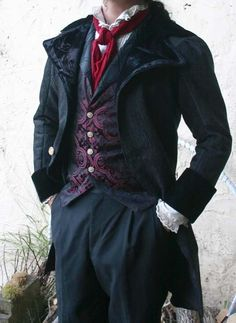 Black tapestry and velvet Steampunk swallowtail wedding cutaway coat.