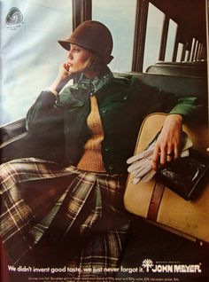 This picture is EXACTLY me. The chich hat, the green jacket, the yellow sweater, the bandana/scarf, the chopped blond hair, the Kilt, the gloves and purse, I even slouch like her! I adore this!