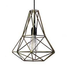 Koperen hanglamp in diamant vorm. Op voorraad en kan dezelfde dag worden verzonden. Betaal met iDEAL of creditcard.