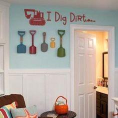 I Dig Dirt vinyl lettering boys room home decor construction truck