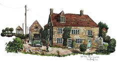 A painting of a house just down the road from me in Pilton Somerset. A commission from a local person who had many happy memories there.
