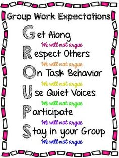 Set expectations for your students when working in groups!Get AlongRespect OthersOn Task BehaviorUse Quiet VoicesParticipateStay in your GroupThere are a multiple style available-Rainbow text-Pink Text-Purple Text-Green TextEnjoy! Classroom Procedures, Classroom Management, Class Management, Science Classroom, School Classroom, Classroom Ideas, Teaching Time, Teaching Science, Lessons For Kids