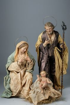 Neapolitan shepherds and nativity scene - art and sacred sculpture - Presepe Napoletano - Oscar Wallin Christmas Nativity Set, A Christmas Story, Christmas Carol, Christmas Greetings, Angel Sculpture, Christian Images, Free To Use Images, Holy Family, Antique Christmas