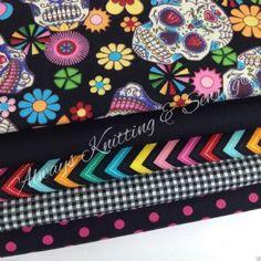 Fabric Bundle of 5 fat quarters, funky skulls, spots,  zigzags & tiny gingham 100% cotton fabric