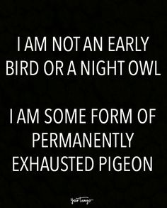 """I am not an early bird or a night owl. I am some form of permanently exhausted pigeon."""