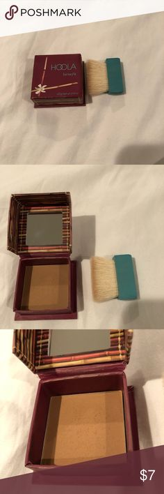 Benefit Hoola Matte Bronzer Mini Lightly Used.  Benefit Hoola Matte Bronzer Mini.  Nothing wrong with product, just not the right color for me.  Note: I store my makeup in a organizer in my closet so it's kept away from moisture and elements. Cleaned with disinfectant wipes as good as possible. Retails for $15 at Ulta. Benefit Makeup Bronzer
