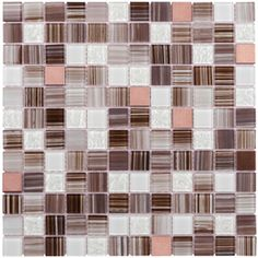 Brushed Copper Mixed Material Mosaic Peel-and-Stick Wall Tile (Common: 12-in x 12-in; Actual: 11.75-in x 11.75-in)