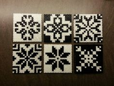 Hama beads, coasters or tiles - Norwegian inspired patterns. Hama perler, glassbrikker / fliser. Norsk inspirert mønster. Made by Montoya