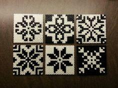 Hama beads, coasters or tiles - Norwegian inspired patterns. Hama perler, glassbrikker / fliser. Norsk inspirert mønster. Made by Montoya