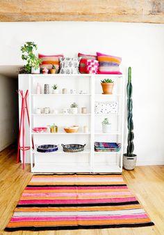 Bolivian Frazada Rug / Blanket, Pink, Orange & Sage