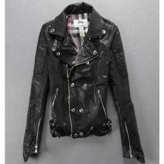 Women Black Lambskin Leather Slim Fit Punk Fashion Bomber Biker Jacket. Just wish it was fake leather
