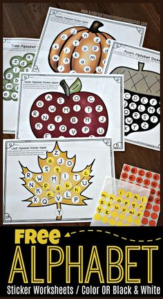 FREE Fall Alphabet Sticker Worksheets - these free printable preschool, kindergarten, first grade worksheets are a great way for kids to practice identifying uppercase and lowercase alphabet letters with a fun twist while strengthening fine motor skills Fall Preschool Activities, Preschool Kindergarten, Preschool Learning, Kindergarten Worksheets, Preschool Crafts, Free Printables Preschool, Learning Activities, Letters Kindergarten, September Preschool