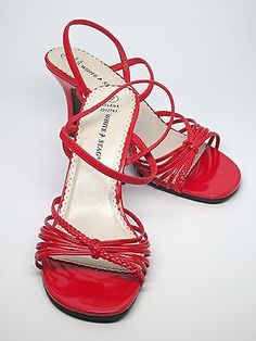 Vintage 1980's Red Dressy Heeled Sandals, Slip On, Strappy, Women's US Size 7 M