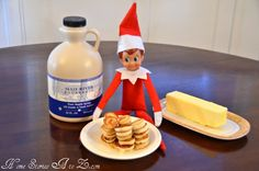 Elf on the Shelf made mini pancakes. So cute.
