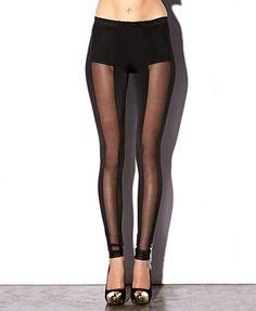 Vertical Mesh Leggings | FOREVER21 - 2000050372