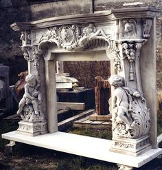 Marble fire surround - elaborate carved marble to a bespoke design