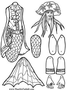 Captain Baleen Cavallo the Mer-Pirate Puppet to Color, Cut Out, & Assemble