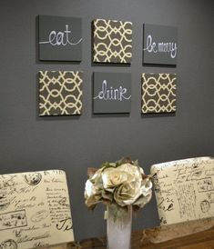 Eat Drink Be Merry Wall Art Pack Of 6 Canvas Hangings Dining Room Decor Gray Kitchen Sign Lettering