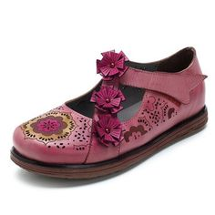 SOCOFY Handmade Orchis Flower Hook Loop Soft Flat Leather Shoes