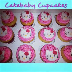 Hello Kitty themed Vanilla Bean cupcakes #cakebabycupcakes #cupcakes #custom #Atlanta #delivery