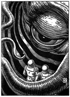 Drawings by Virgil Finlay   illustration, drawing, pulp fantasy, science fiction, horror