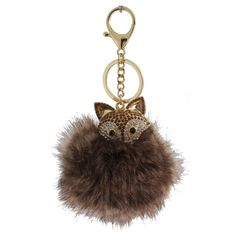 Women's Keyring Fox Pom Pom With Stones - Gold/Brown