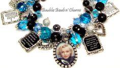 Marilyn Monroe Quotes Charm Bracelet in Aqua Blue, Photo Charm Bracelet, Altered Art Charm Bracelet, Silver Charm Bracelet