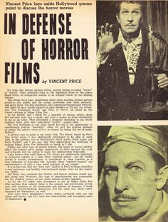 In Defense of Horror Films by Vincent Price via Greggory's Shock Theater All Horror Movies, Classic Horror Movies, Horror Films, Scary Movies, Real Horror, Horror Icons, Horror Comics, Haunted Movie, House On Haunted Hill