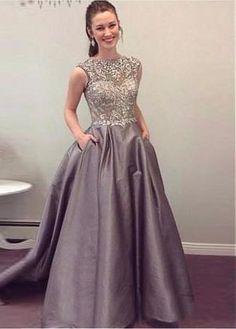Amazing Tulle & Taffeta Neckline A-line Evening Dresses With Beading