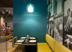 pizzeria in perth is situated at the William Street in Perth, Austraila. The 145 Sq. metre space is designed by Salvatore Fazzari of design store Mobilia Pizzeria Design, Restaurant Design, Restaurant Bar, Restaurant Interiors, House Interiors, Commercial Interior Design, Commercial Interiors, Corrugated Wall, Big Houses