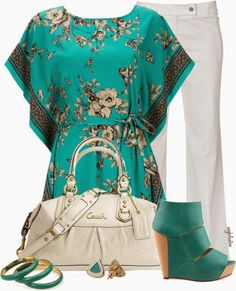 Get Inspired by Fashion: Spring Outfits   Green Floral Top