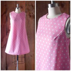 Vintage inspired handmade pink shift with white by SchoolofVintage, $65.00
