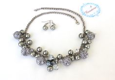 Grey pearl beaded Necklace set