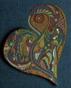 Monik Paugam for lace encounters and yarn art - La boutis de mamé 83 Hungarian Embroidery, Hand Work Embroidery, Crewel Embroidery, Embroidery Patterns, Machine Embroidery, Stitch Witchery, Art Du Fil, Thread Painting, Ribbon Art