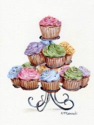 PRINT ON PAPER - Cup Cakes on a Scrolly Stand - Free Postage World Wide