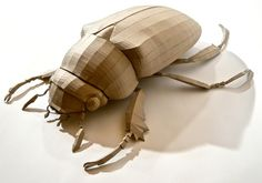 cardboard maquette for the giant beetle sculpture titled Alexander the Great by Dean Colls