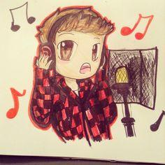 fanart of singing mitch so cute. credit thefrogfanart on instagram