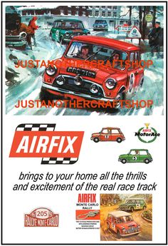 Airfix Mini Cooper Monte Carlo Rally Set 1967 Poster Advert Sign Slot Car Racing